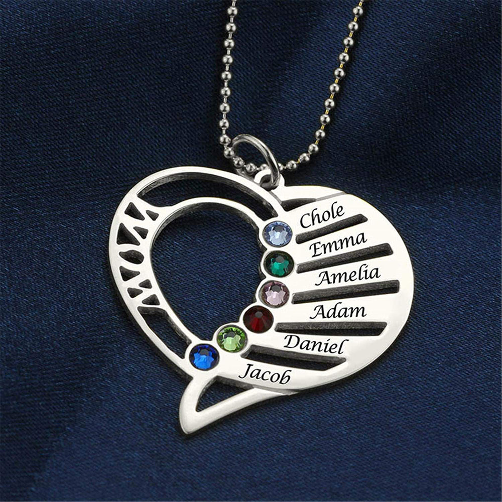 Birthstone Necklace Family Mom Birthstones Jewelry Personalized Heart Pendant 925 Sterling Silver - Favetsy