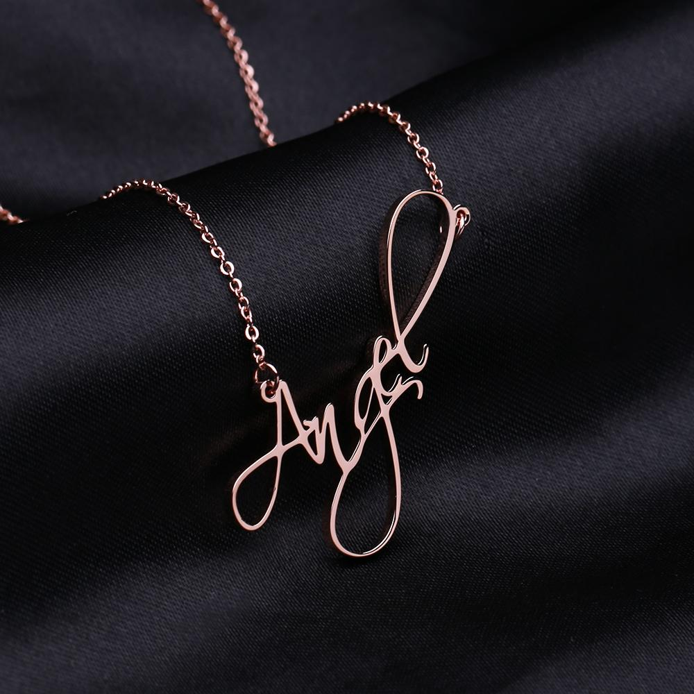 Name Necklace Personalized Solid Sterling Silver Necklace Pendent Gifts for Lover - Favetsy