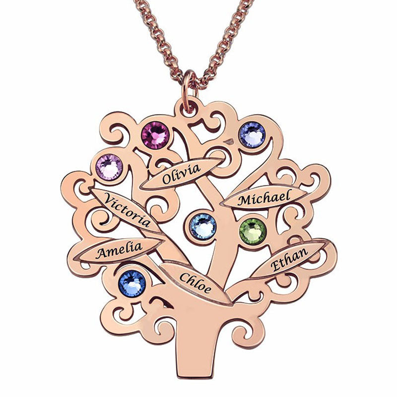 Necklace Family Tree 925 Silver Grandma Gift Children's Name Mother Birthstone Jewelry Favetsy - Favetsy