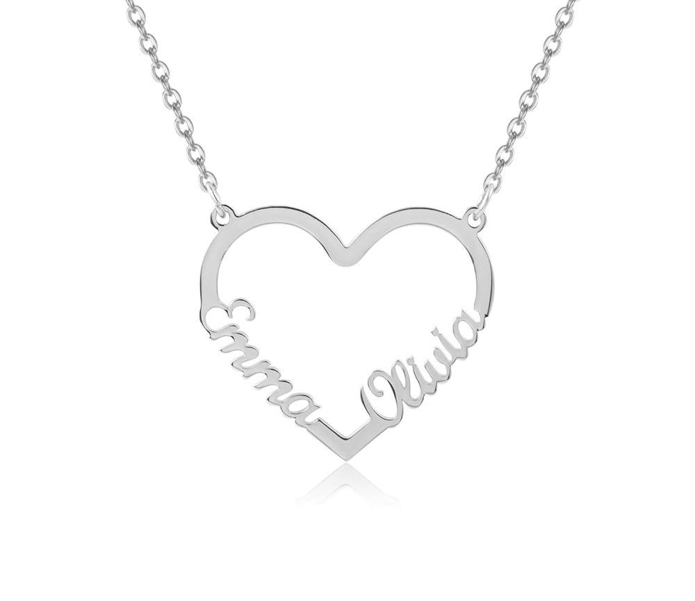 Romantic Heart Sterling Silver Personalized Name Necklace - Custom Made Jewelry Gift Favetsy - Favetsy