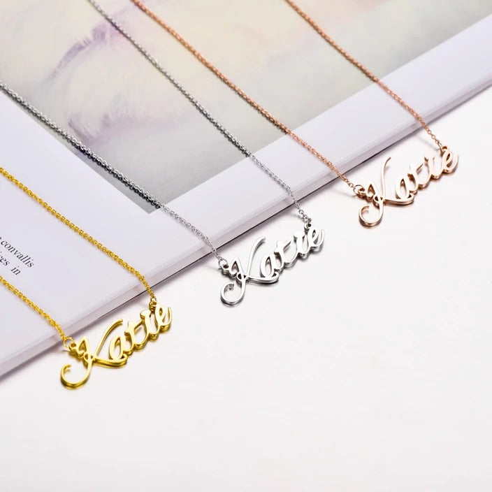 925 Sterling Silver Gold Personalized Name Necklacer - Custom Made Jewelry Gift Favetsy - Favetsy