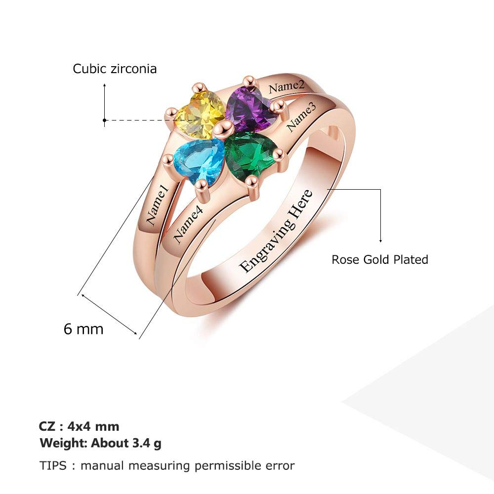 Personalized Rose Mother Rings with 4 Simulated Birthstone Engraved Name Jewelry Rings Favetsy - Favetsy