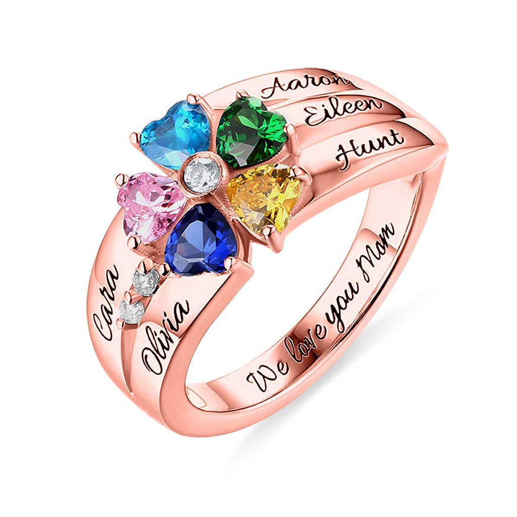Personalized Rings with 5 Birthstones and 5 Names Sterling Silver Names Engraved Family Promise Gift Favetsy - Favetsy