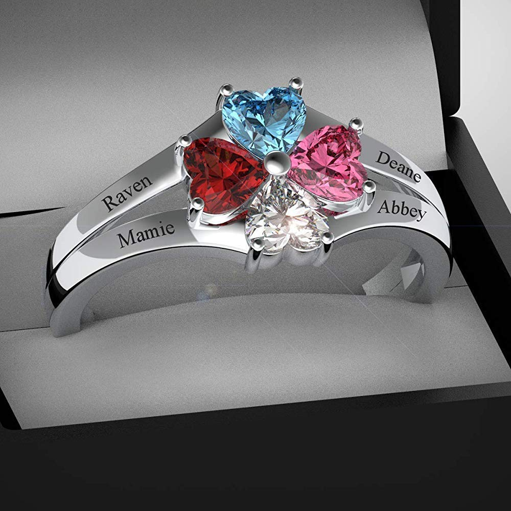 Personalized Mother Rings with 4 Simulated Birthstone Engraved Name Jewelry Rings Favetsy - Favetsy