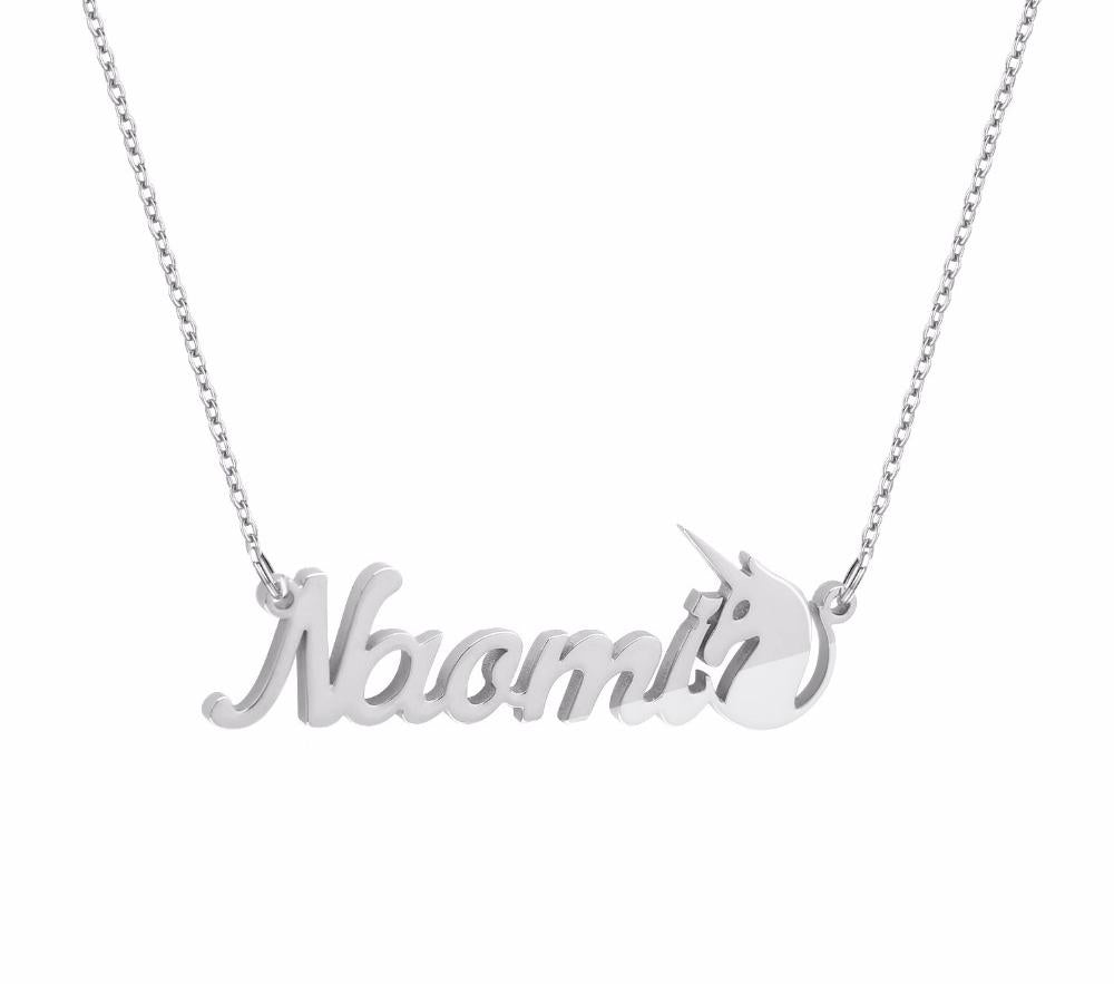 Unicorn Sterling Silver Personalized Name Necklace - Custom Made Jewelry Gift Favetsy - Favetsy