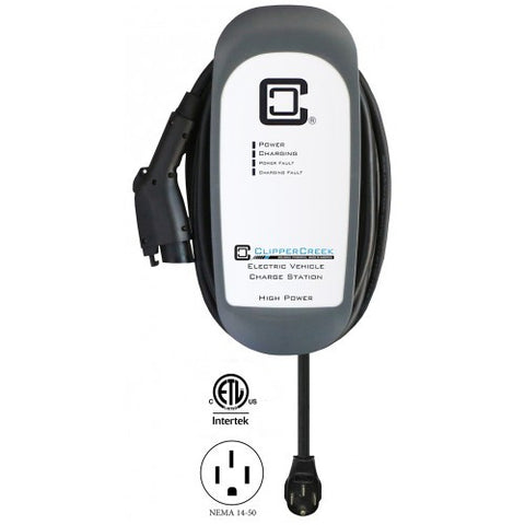 Clipper Creek HCS-40P, Plug-in 32 Amp EV Charging Station, 25 ft cable, NEMA 14-50
