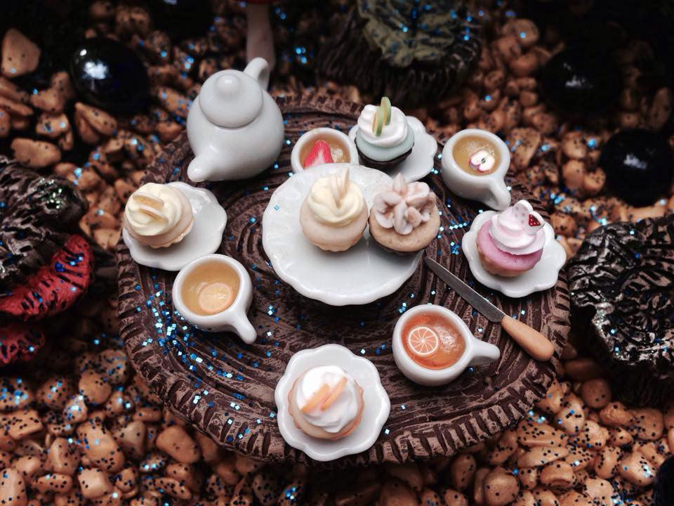 Fairy fruits of the forest tea & cupcakes setting