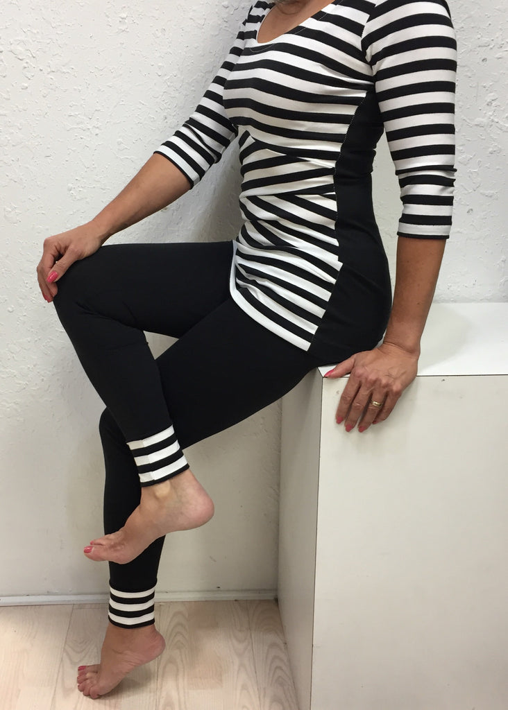Black & White Stripe Bandage top