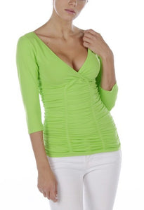 Double Surplice Rouched 3/4 Top
