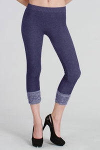 Two Tone Shirring Capri Leggings
