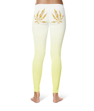 Banana Yellow Pot Leaf Spandex Leggings