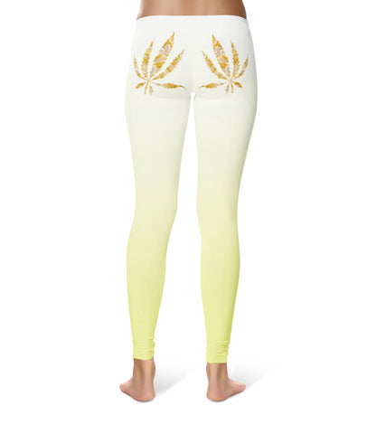 Glitter Gold Pot Leaf Leggings