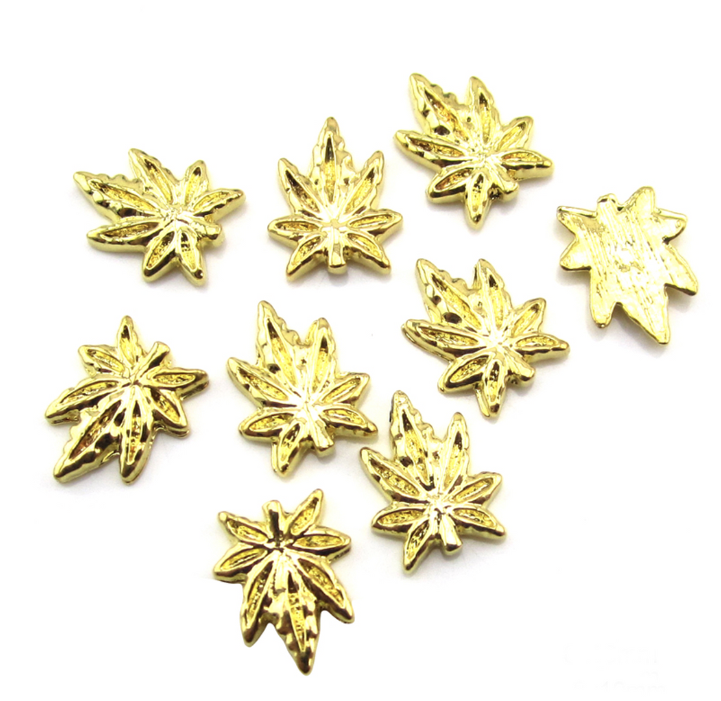 3D Gold Weed Leaf Nail Charm