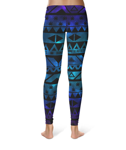 Bong Beauties Aztec Galaxy Pot Leaf Spandex Leggings