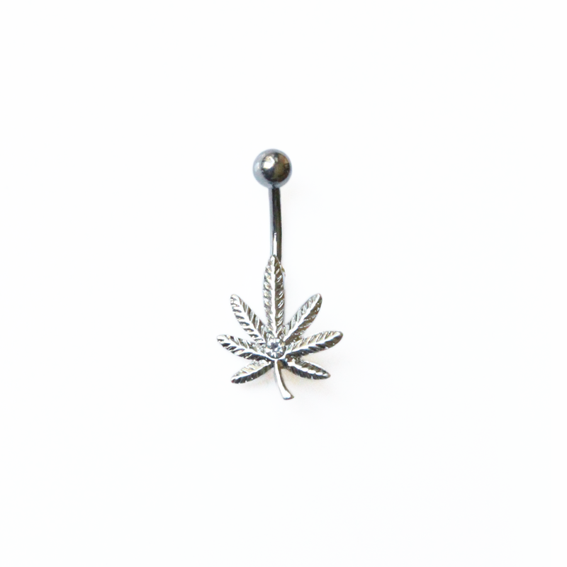 Silver Canna Belly Ring - Bong Beauties