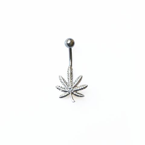 Silver Weed Leaf Belly Ring