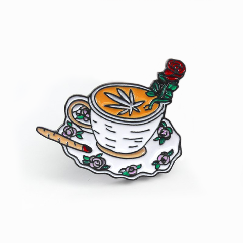 Coffee and Cannabis Enamel Pin