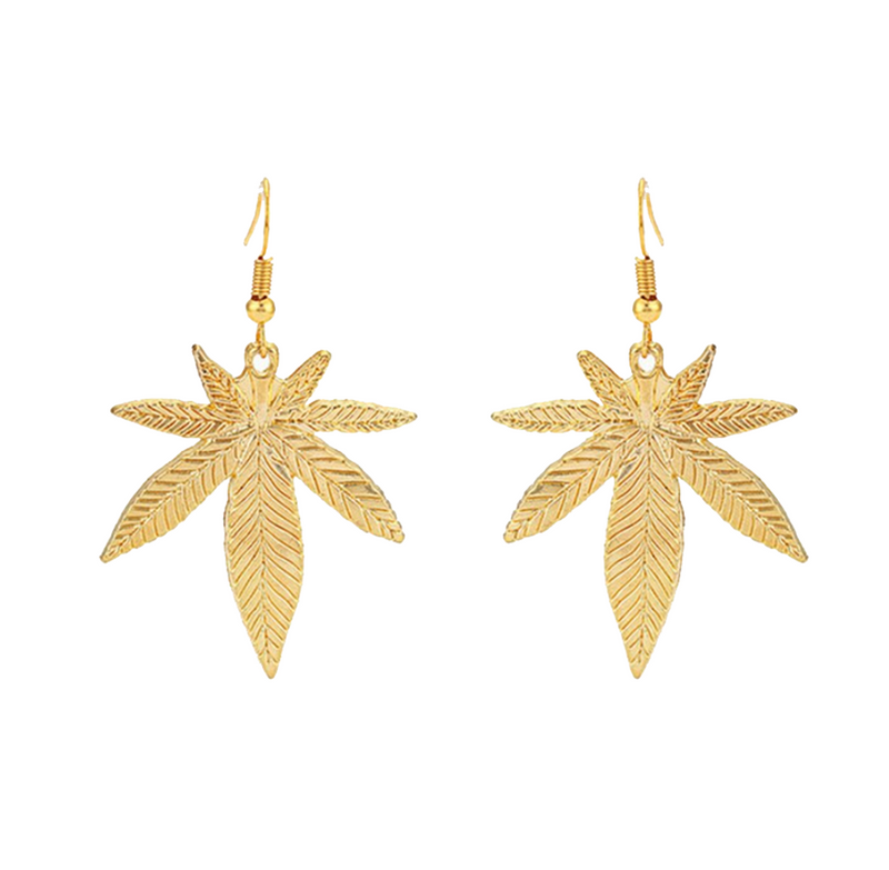Gold Weed Earrings - Bong Beauties