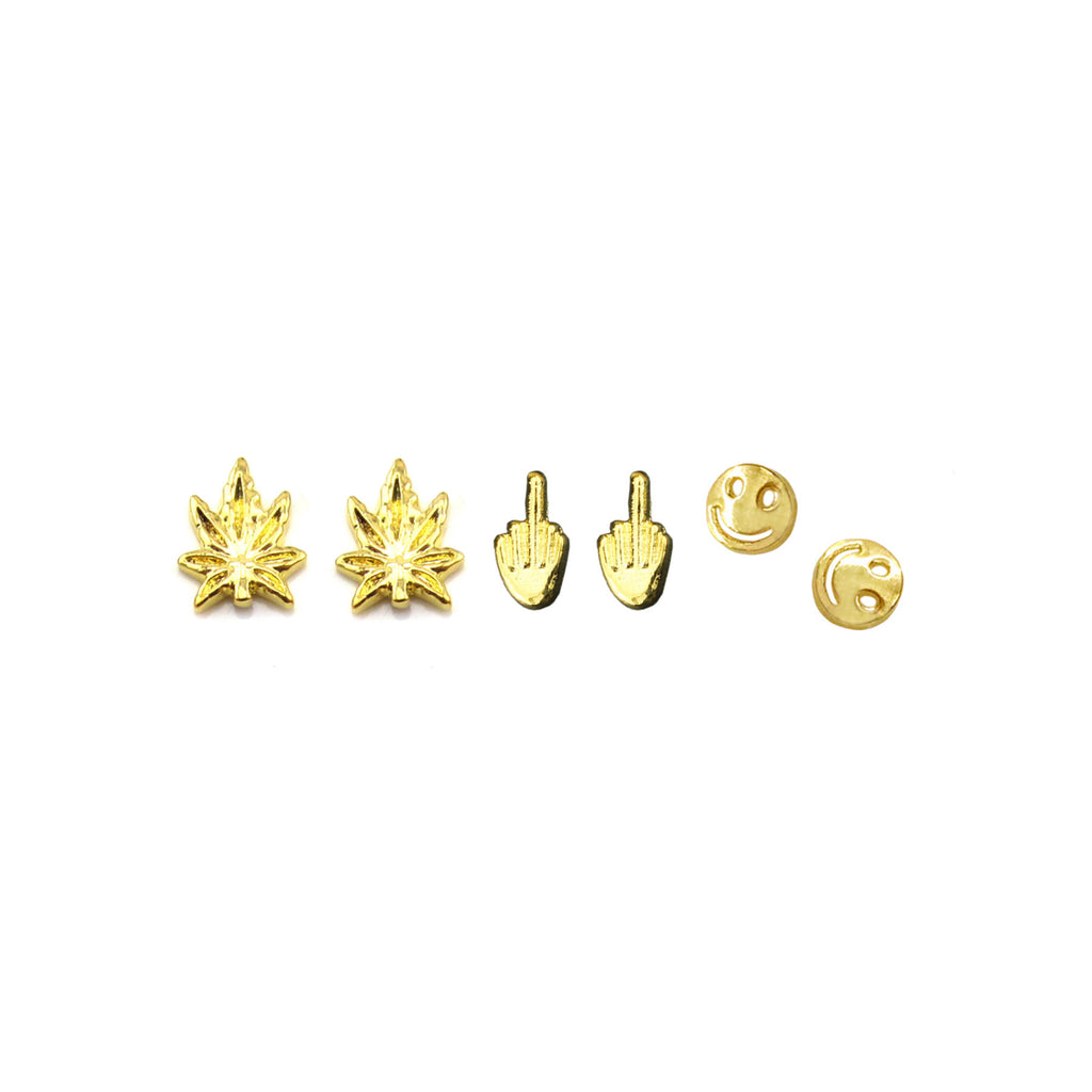 Fuck You Middle Finger, Happy Face & Weed Leaf 3D Gold Nail Charm Set