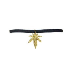 Large Velvet Kush Choker Silver/Gold - Bong Beauties