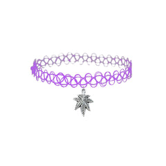 Purple Weed Leaf Kush Choker Necklace