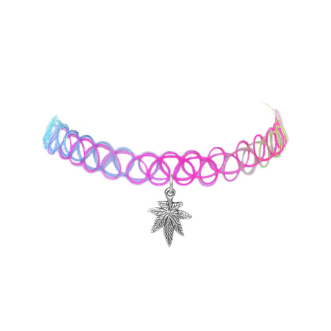 Rainbow Pot Leaf Cannabis Stretch Choker