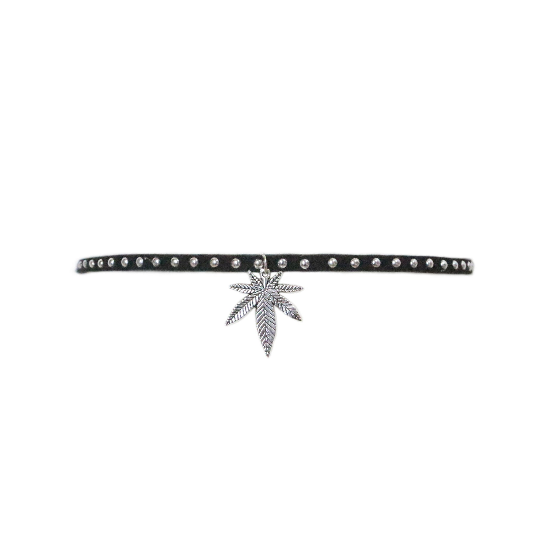 Stud Weed Leaf Silver Cannabis Velvet Choker Necklace