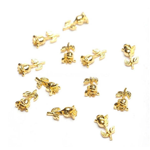 Rose Flower 3D Gold Nail Charm