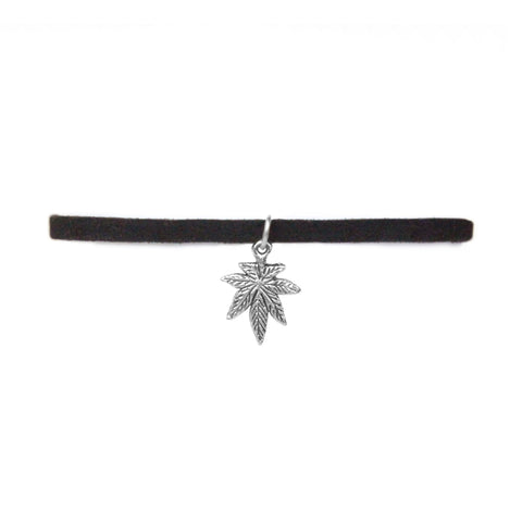 Silver Velvet Kush Chokers (Medium Leaf)