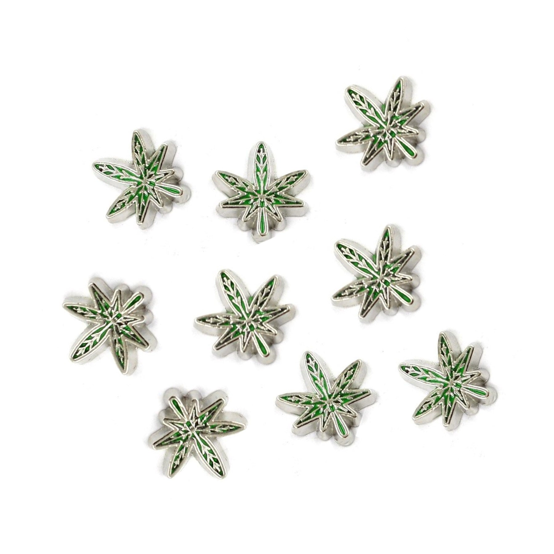 Tiny Green & Silver Weed Leaf 3D Nail Charm