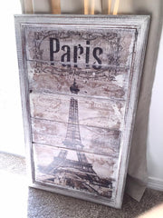 Paris Art on reclaimed wood in vintage frame