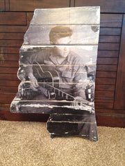 Elvis playing guitar vintage photo on reclaimed wood MS shape