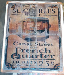 Old vintage Street Car Ticket Sign
