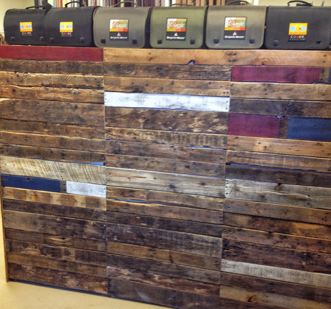 Custom built pallet wood wall