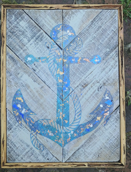 Navy metallic leaf coastal wall art