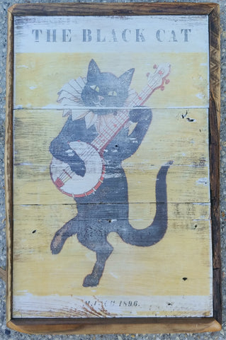Black cat banjo vintage style sign
