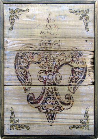 Fleur de Lis Rustic Gold Burgandy Decorative Wall Art