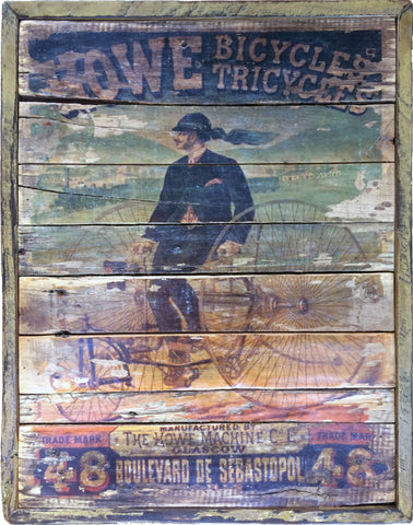 Howe Bicycle manufacturing vintage sign on reclaimed wood