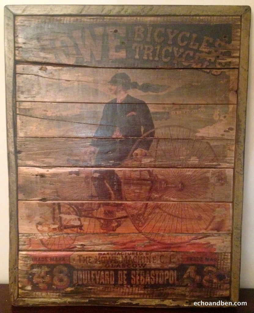 Howe bicycle manufacturing vintage style sign on reclaimed for Reclaimed wood manufacturers