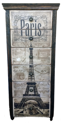 Paris Chic 6 Drawer Chest with Eiffel Tower