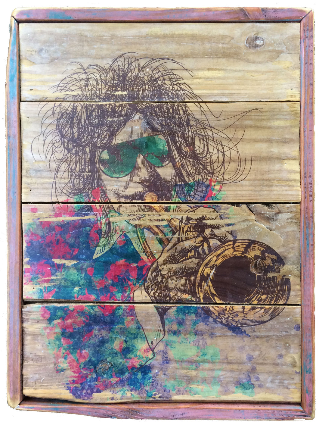 Trumpet jazz abstract art on reclaimed wood
