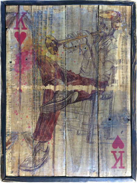 King of hearts on trumpet with reclaimed wood