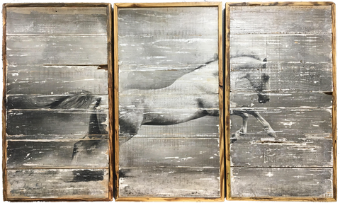 Horse Wall Decor on Reclaimed Wood set of 3