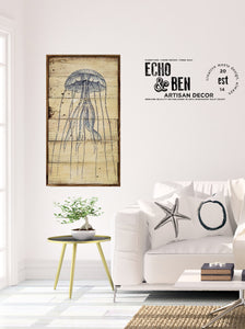 Jelly Fish Reclaimed Wall Art