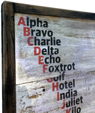 NATO Phonetic Alphabet on Rustic Boards
