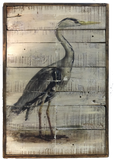 Heron on Reclaimed Wood blue or white Large Wall Art