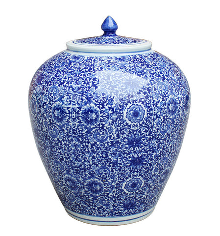Blue & White Flower Ginger Jar (Small) , Ceramic - LOA, The Pink Pagoda