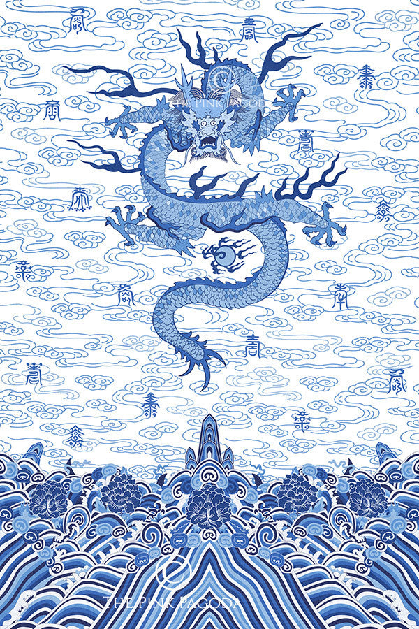 Chinese Imperial Dragon Robe In Blue And White The Pink Pagoda