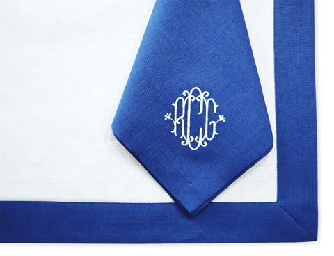 Irish Linen Placemat and Monogrammed Dinner Napkin Set with Border , Linen - NF,   - 1