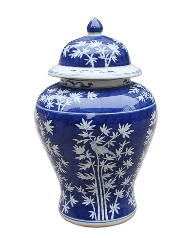Blue & White Bamboo Temple Jar , Ceramic - LOA, The Pink Pagoda